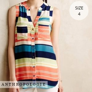 Anthropologie Maeve • Sunseeker Striped Button Top